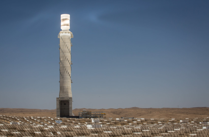 RENEWABLE ENERGY: View of the Ashalim solar power station in the Negev, 2018 (photo credit: MIRIAM ALSTER/FLASH90)