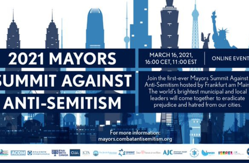 Info for the first-ever Mayors Summit Against Anti-Semitism (photo credit: COMBAT ANTISEMITISM MOVEMENT)