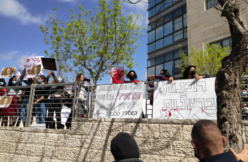 MAVOI SATUM, together with several organizations, demands solutions the Jerusalem Rabbinical Court on International Women's Day (photo credit: COURTESY MAVOI SATUM)