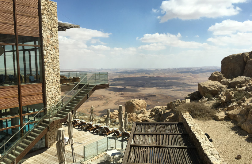 THE BERESHEET Hotel in Mitzpeh Ramon is open only to vaccinated Israelis (photo credit: BRIAN BLUM)