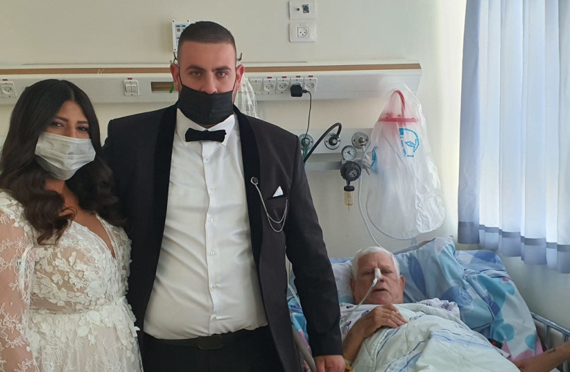 Bride and Groom visit father in Barzilai Medical Center, Ashkelon (photo credit: BARZILAI HOSPITAL)