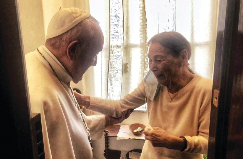 POPE FRANCIS meets with poetess and Holocaust survivor Edith Bruck in Rome on February 20. (photo credit: VATICAN MEDIA/HANDOUT VIA REUTERS)