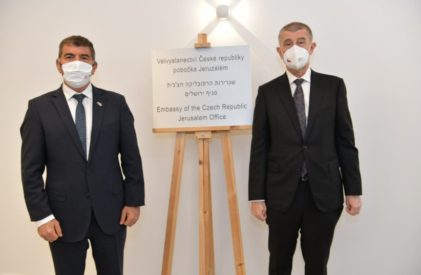 Czech Prime Minister Andrej Babiš is seen with Foreign Minister Gabi Ashkenazi at the opening of the Czech Embassy to Israel's new Jerusalem office. (photo credit: FOREIGN MINISTRY)