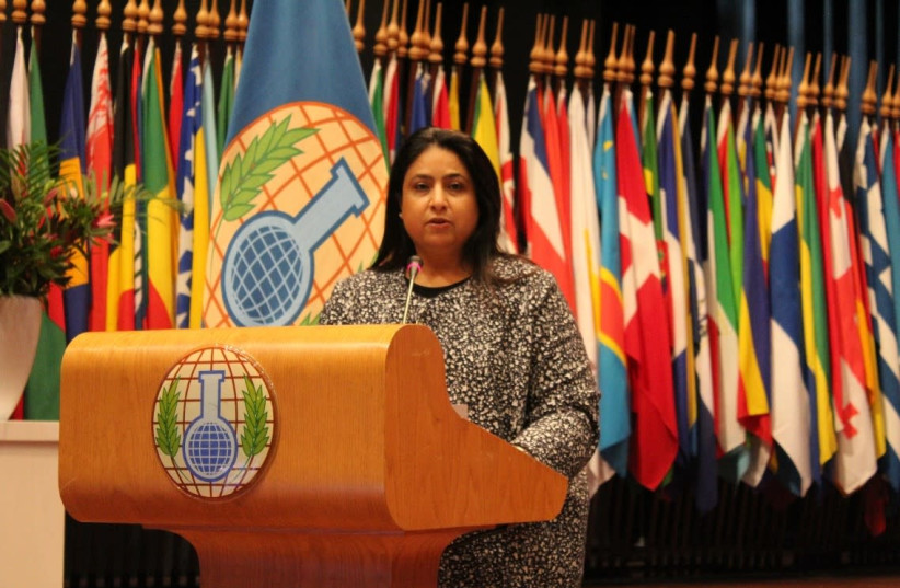 Shaikha Rana bint Isa Al Khalifa participates in the 24th Conference of the States Parties to the Organisation for the Prohibition of Chemical Weapons, November 2019. (photo credit: Courtesy)