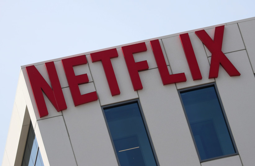 The Netflix logo is seen on their office in Hollywood, Los Angeles, California, US July 16, 2018.  (photo credit: REUTERS/LUCY NICHOLSON/FILE PHOTO)