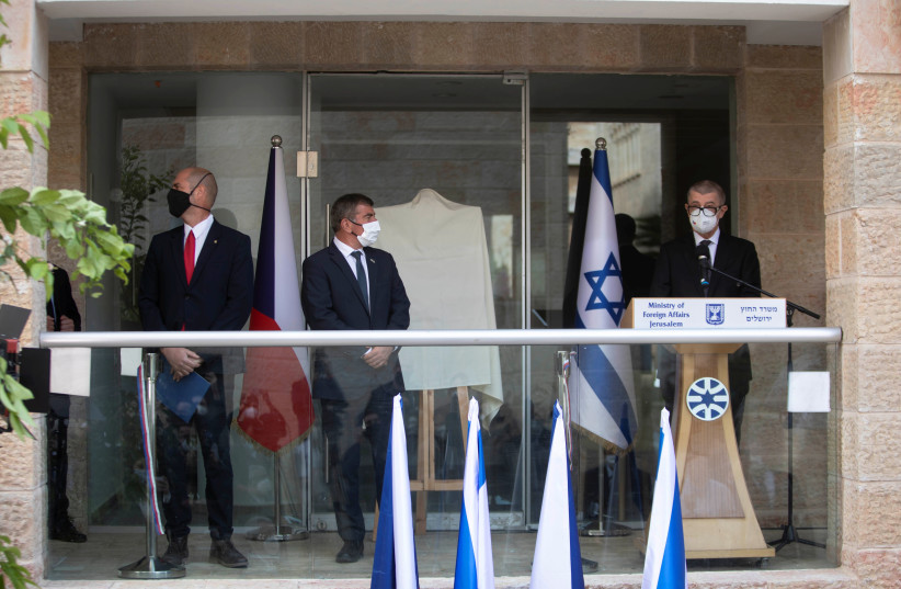 Czech Prime Minister Andrej Babis, Israeli Foreign Minister Gabi Ashkenazi and Israeli Public Security Minister Amir Ohana attend an inauguration ceremony of a Czech diplomatic representation in Jerusalem March 11, 2021. (photo credit: REUTERS)