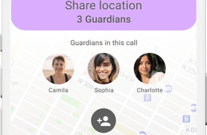 """SafeUp's """"share location"""" feature allows women to share their location with multiple previously selected women. (photo credit: SAFEUP)"""
