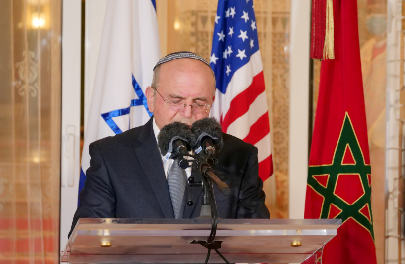 Israeli National Security Adviser Meir Ben-Shabbat, who led the Israeli delegation, speaks during a visit to Rabat, Morocco, December 22, 2020.  (photo credit: REUTERS/SHEREEN TALAAT)