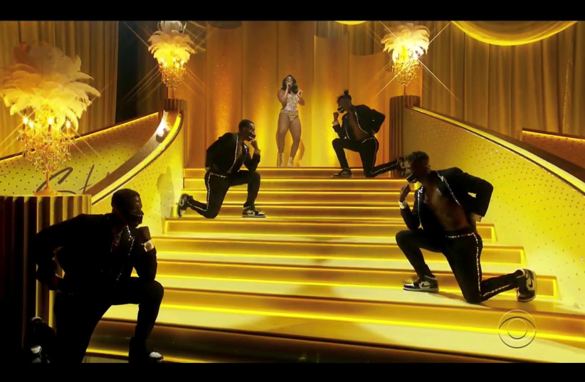 Megan Thee Stallion performs in this screen grab taken from video of the 63rd Annual Grammy Awards in Los Angeles, California, US, March 14, 2021 (photo credit: CBS/HANDOUT VIA REUTERS)