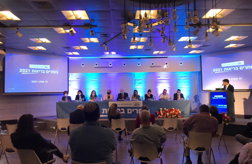 """Panel """"Voting for health"""" organized by the Israel National Institute for Health Policy Research on March 15, 2021. (photo credit: ROSSELLA TERCATIN)"""