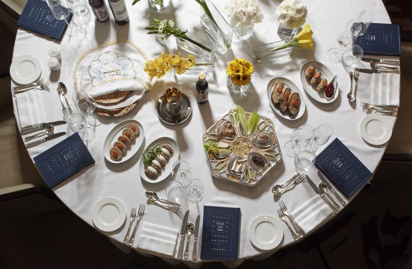 Passover seder settings at the David Citadel Hotel. (photo credit: Courtesy)