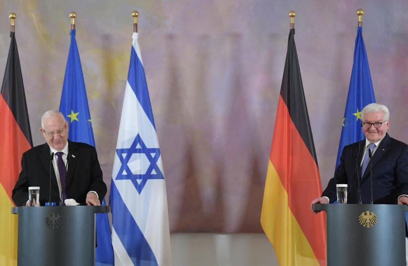 Israeli President Reuven Rivlin meets with German President Frank-Walter Steinmeier, Berlin, Germany, March 16, 2021 (photo credit: AMOS BEN-GERSHOM/GPO)