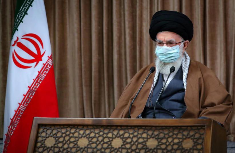 Iran's Supreme Leader Ayatollah Ali Khamenei delivers a televised speech in Tehran, Iran March 11, 2021. (photo credit: OFFICIAL KHAMENEI WEBSITE/HANDOUT VIA REUTERS)