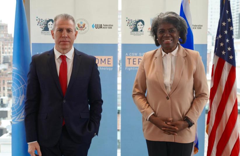 Israel's Ambassador to the United States and United Nations Gilad Erdan and US Ambassador to the UN, Linda Thomas-Greenfield (photo credit: ISRAEL AT THE UN)