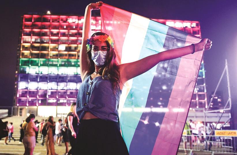 A PRIDE EVENT held under coronavirus restrictions in Tel Aviv, last June. (photo credit: AVSHALOM SASSONI/FLASH90)
