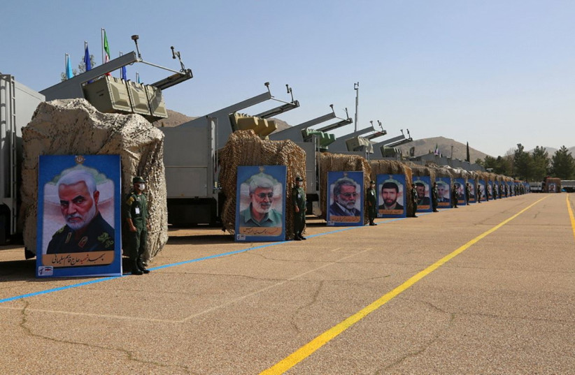 "Iranian missiles are seen at a new ""missile city"" of Iran's Revolutionary Guards naval unit at an undisclosed location in Iran, in this picture obtained on March 15, 2021. (photo credit: IRGC/WANA/HANDOUT VIA REUTERS)"
