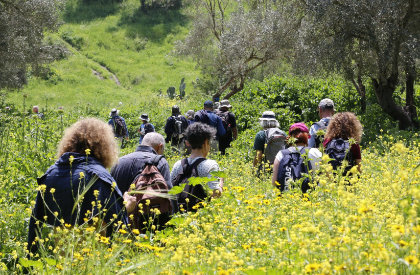 VISITORS WALK the new 18-km. Emmaus Trail from Abu Ghosh to the Emmaus Nicopolis Monastery.  (photo credit: Courtesy)