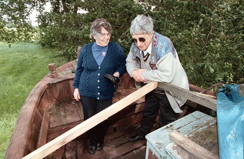 ABRAHAM STEINBOCK and his wife, Molly, visit the boat that in 1943 took him to safety, at a fishing museum in Jutland, Denmark, in 2000 (photo credit: AVIVA STEINBOCK)
