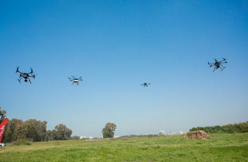 Drones fly above Hadera in a test of Israel's drone delivery network project (photo credit: Courtesy)
