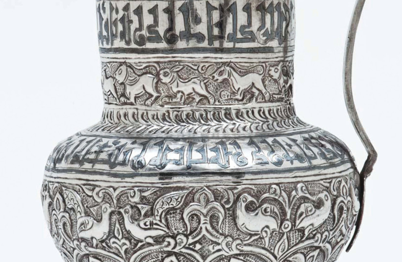 THE MAGNIFICENT silver vessel from the legendary 'Harari Hoard' at the Islamic Museum. (photo credit: Courtesy)