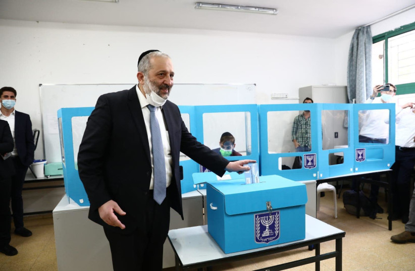 Head of Shas and Interior Minister, Arye Deri voted at a polling station close to his house on Kablan Street in Jerusalem. (photo credit: YAAKOV COHEN)