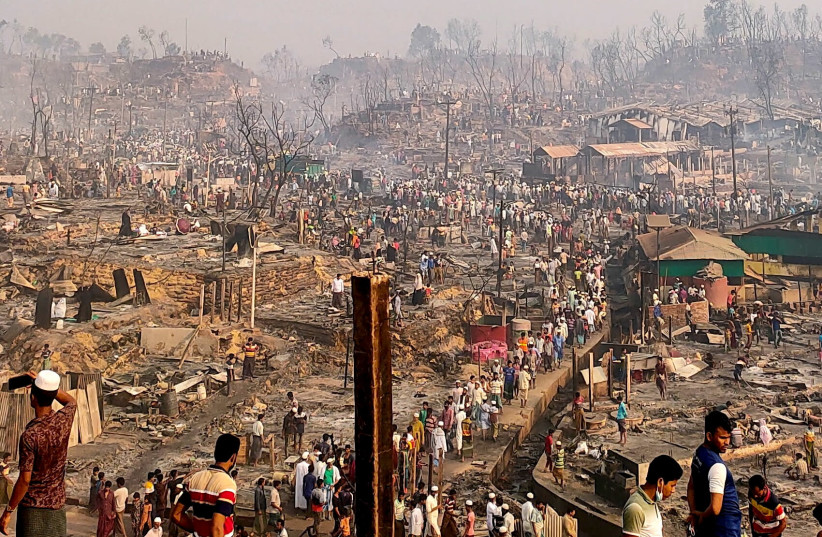 A general view of a Rohingya refugee camp after a fire burned down all the shelters in Cox's Bazar, Bangladesh, March 23, 2021. (photo credit: REUTERS/RO YASSIN ABDUMONAB)