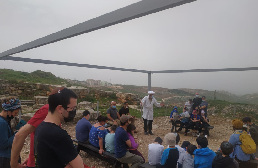 Visitors at Mount Gerizim park on Election Day, March, 2021 (photo credit: NETANEL ELIMELECH/NATURE AND PARKS AUTHORITY)
