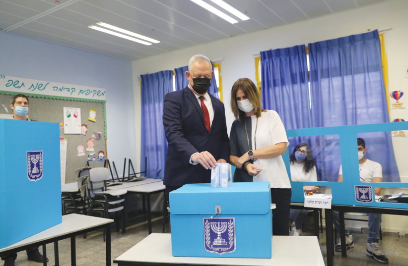Alternate Prime Minister Benny Gantz is seen voting. (photo credit: ELAD MALKA)