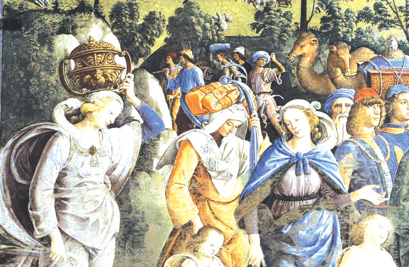 DETAIL FROM 'Moses Leaving to Egypt' by Pietro Perugino, c. 1482. Zipporah is in blue. (photo credit: Wikimedia Commons)