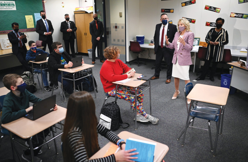 US FIRST LADY Jill Biden speaks to students at Fort LeBoeuf Middle School, on a visit with Education Secretary Miguel Cardona in Waterford, Pennsylvania earlier this month. The novel explores middle-school social media-inflicted problems. (photo credit: MANDEL NGAN/REUTERS)