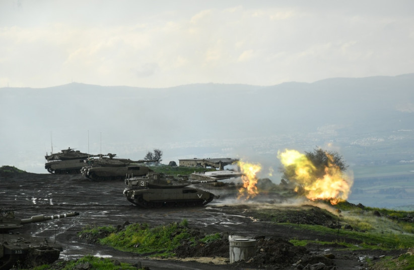 Tanks from the IDF's 188th Brigade train on the Golan Heights in March 2021. (photo credit: IDF)