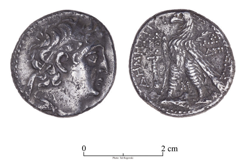 The Tyre coin recently discovered at the Tower of David Museum. (photo credit: TAL ROGOVSKY)