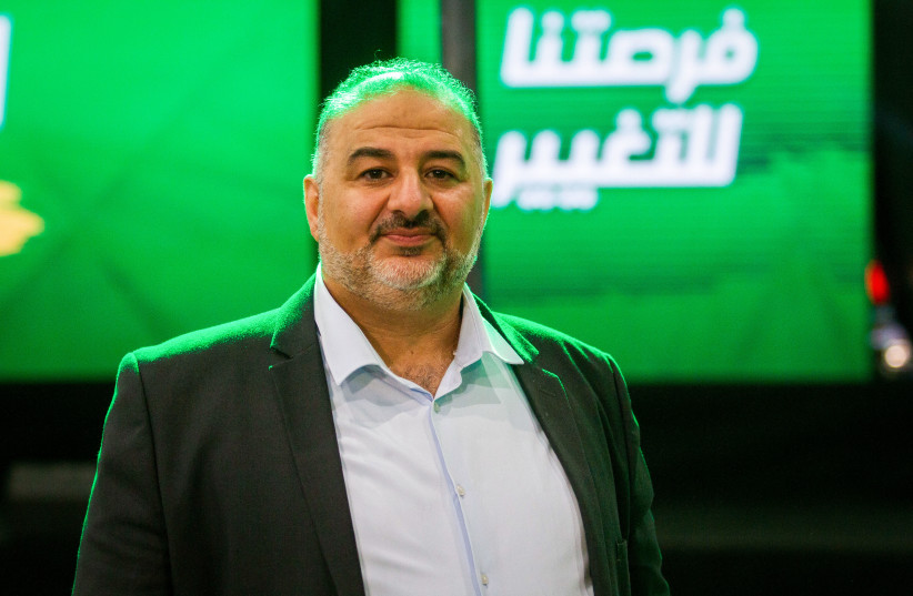 Ra'am party leader Mansour Abbas at the party headquarters in Tamra, on election night, March 23, 2021.  (photo credit: FLASH90)