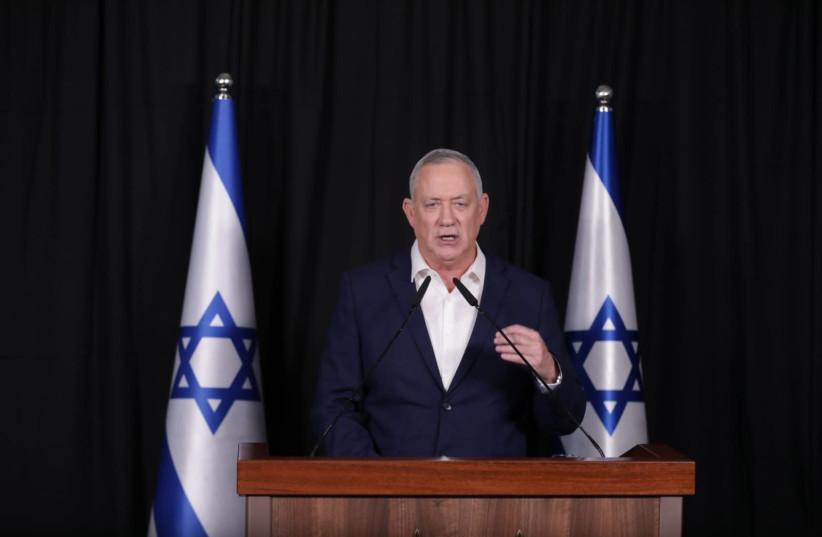 Benny Gantz at a press conference in Ramat Gan's Kfar Hamaccabiah Hotel. (photo credit: ELAD MALKA)