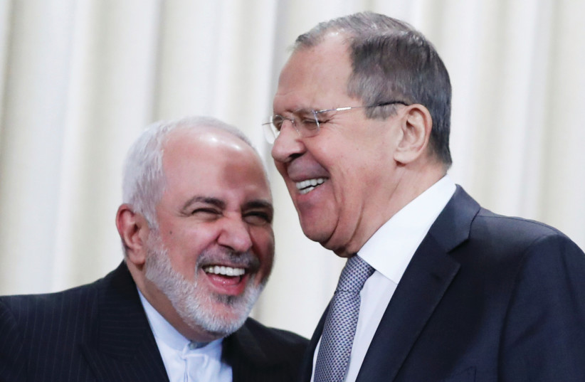 IRANIAN FOREIGN Minister Mohammad Javad Zarif and Russian Foreign Minister Sergei Lavrov attend a news conference in Moscow in 2019. (photo credit: EVGENIA NOVOZHENINA/REUTERS)