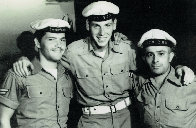 GEORGE SHEFI (center) with a couple of navy pals (photo credit: COURTESY GEORGE SHEFI)