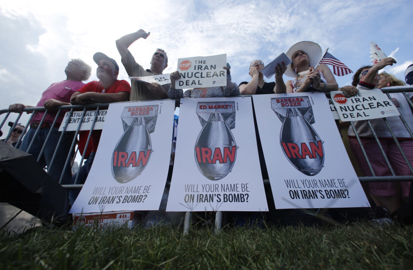 RALLYING AGAINST the Iran nuclear deal on Capitol Hill in Washington, 2015. (photo credit: JONATHAN ERNST / REUTERS)