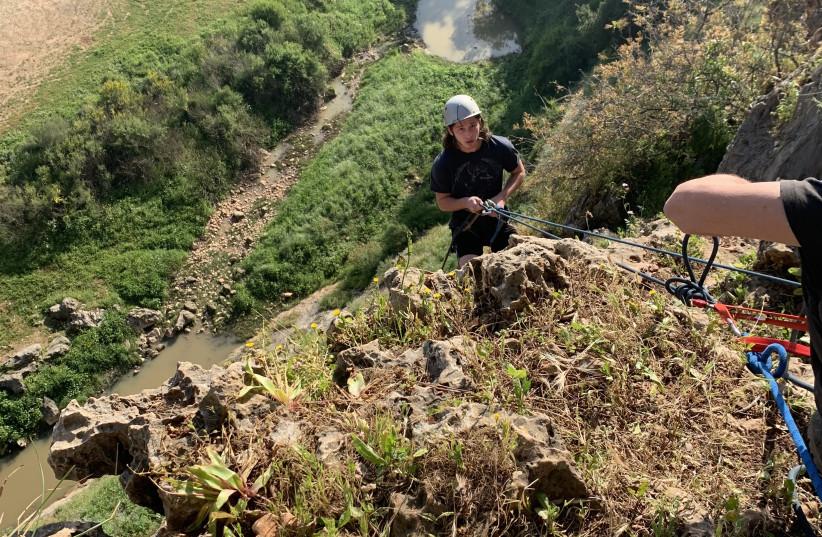 SHLOMO JAFFE prepares to rappel down Shilat Cliff. (photo credit: MAAYAN HOFFMAN)
