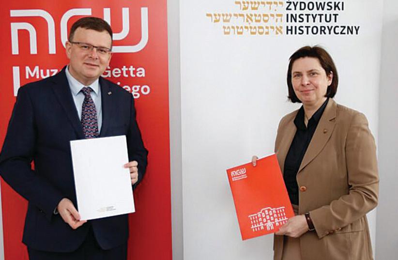 ALBERT STANKOWSKI, director of the Warsaw Ghetto Museum, and Monika Krawczyk, director of the Emanuel Ringelblum Jewish Historical Institute in Warsaw. (photo credit: GREGORZ KWOLEK – JHI)