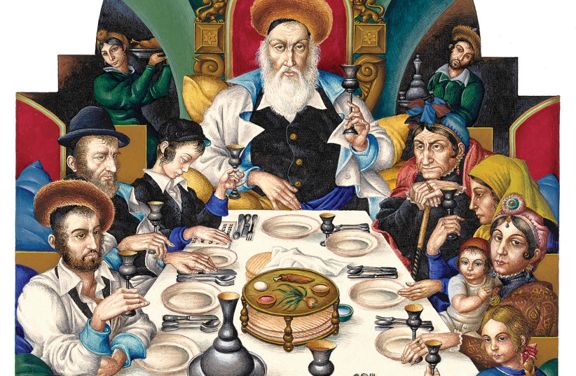 THE ARTHUR SZYK (1894-1951) Haggadah opens with 'The Family at the Seder' (1935) Lodz, Poland. (photo credit: Wikimedia Commons)