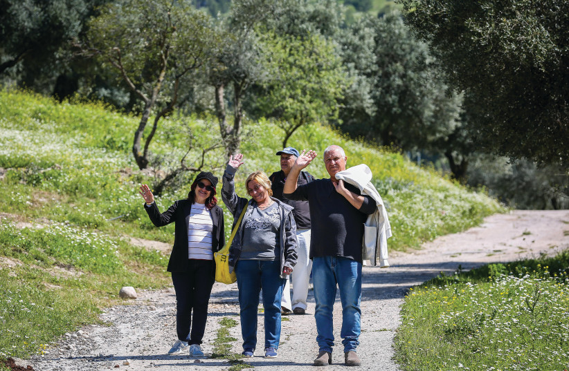 PEOPLE VISIT Emek Hatkhelet Park in Safed on Monday. (photo credit: DAVID COHEN/FLASH 90)