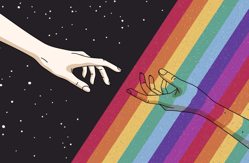 """God reaching out to an LGBTQ person in the style of Michelangelo's """"The Creation of Adam."""" (photo credit: GETTY IMAGES)"""