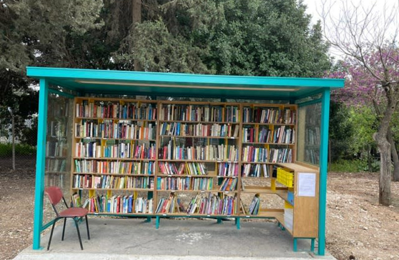 The trilingual street library in the Abu Tor neighborhood of Jerusalem is nearly complete.  (photo credit: LAURI DONAHUE)