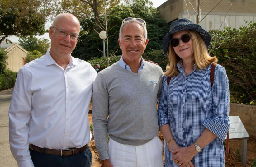 (L-R) President of Tel Aviv University Professor Ariel Porat, pictured next to Sylvan and Margaret Adams (photo credit: Courtesy)