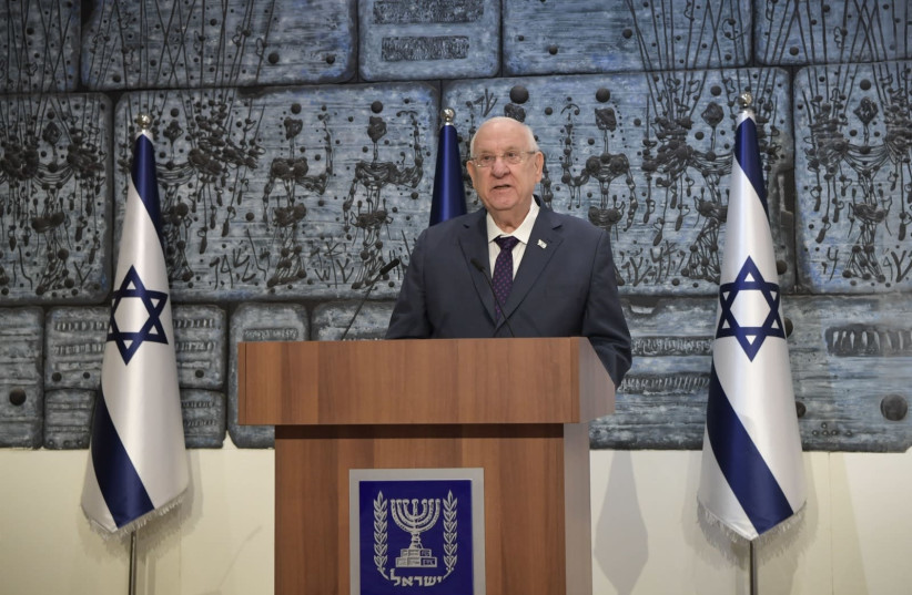President Reuven Rivlin grants mandate to form a government to Netanyahu, April 6, 2021 (photo credit: KOBI GIDEON/GPO)