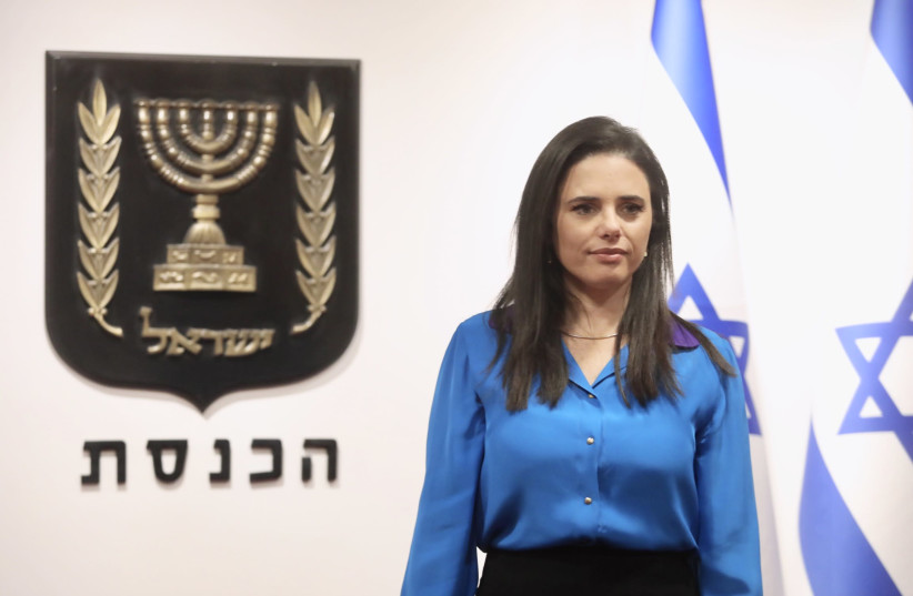 Yamina MK Ayelet Shaked is seen at the inauguration of the 24th Knesset, on April 6, 2021. (photo credit: MARC ISRAEL SELLEM/THE JERUSALEM POST)