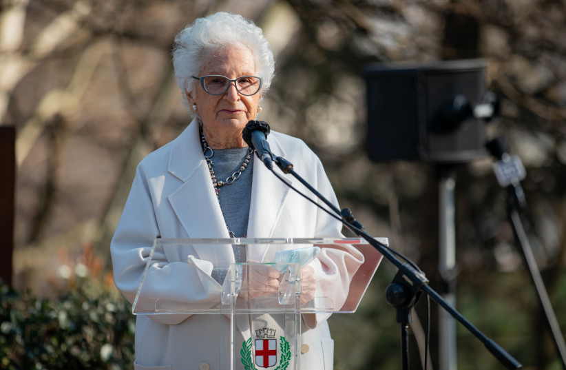 Liliana Segre speaks at a ceremony in Milan, Italy, honoring the rescuers of Jews during the Holocaust (photo credit: ALESSANDRO BREMEC/NURPHOTO VIA GETTY IMAGES)