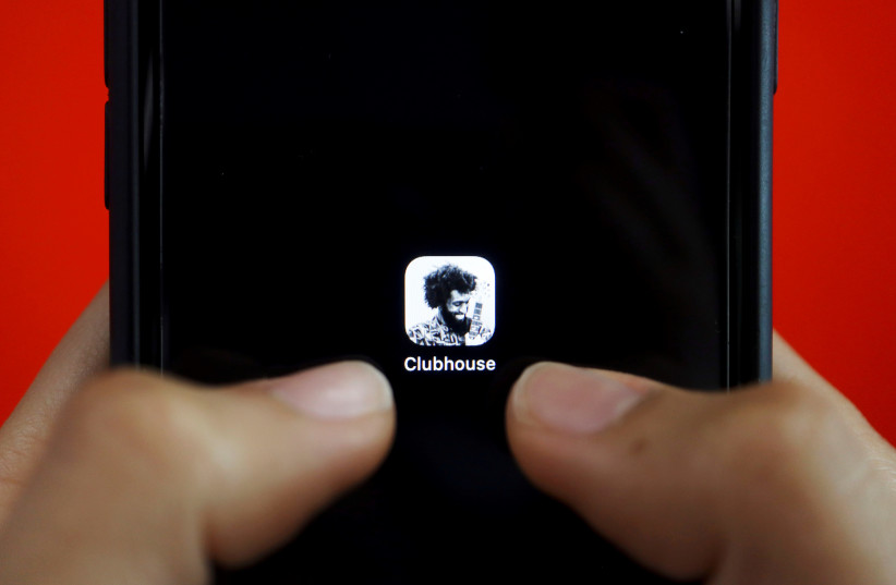 The social audio app Clubhouse is seen on a mobile phone in this illustration picture taken February 8, 2021.  (photo credit: REUTERS/FLORENCE LO/ILLUSTRATION/FILE PHOTO)
