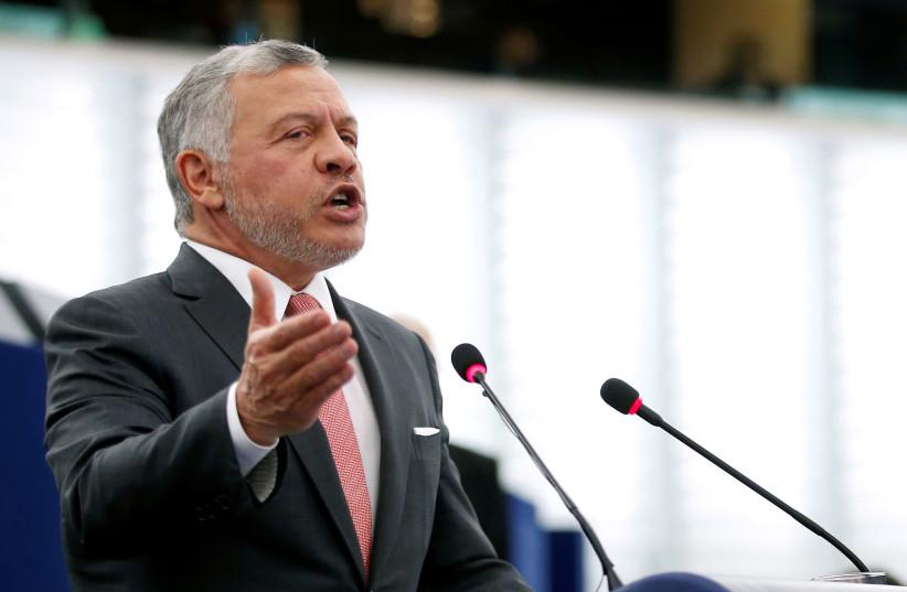 King of Jordan Abdullah II addresses the European Parliament in Strasbourg, France January 15, 2020. (photo credit: REUTERS/VINCENT KESSLER/FILE PHOTO)