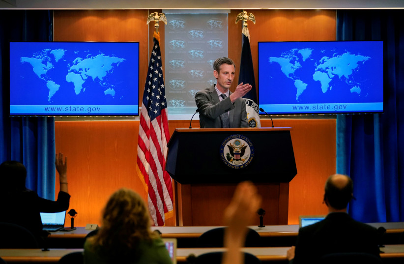 US State Department spokesman Ned Price takes questions from reporters at the State Department in Washington, US, March 31, 2021. (photo credit: CAROLYN KASTER/POOL VIA REUTERS)